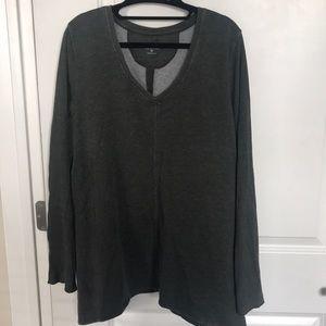 Olive Green Fleece-Lined Long Sleeve Sweater